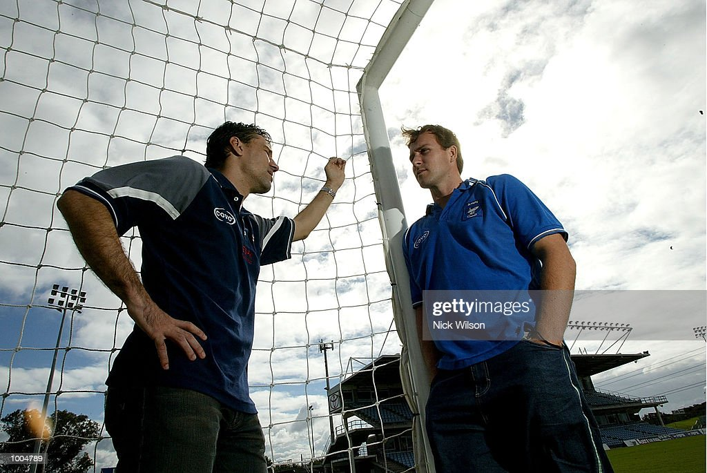 Kresimer Marusic of the Knights and Clint Bolton of the Sharks during the Soccer Australia Press Conference held at Shark Park, Australia, Sydney, Australia, ahead of the Elimination Final between Olympic Sharks and The Melbourne Knights this weekend. Mandatory Credit: Nick Wilson/Getty Images