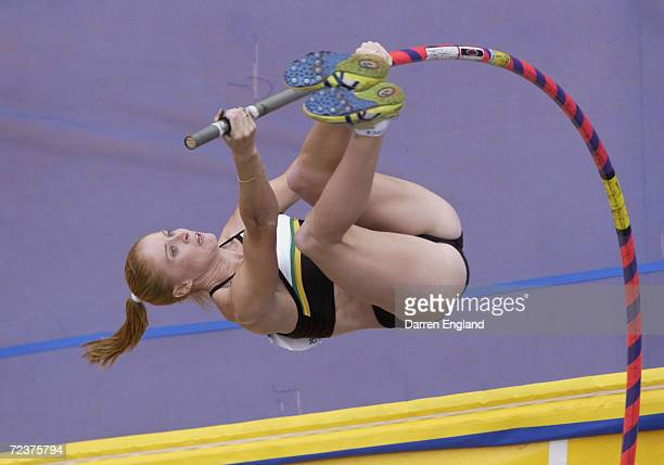 Kym Howe of Australia in action in the women's Pole Vault Final at the 2002 Australian Athletics Championships held at ANZ Stadium in Brisbane...