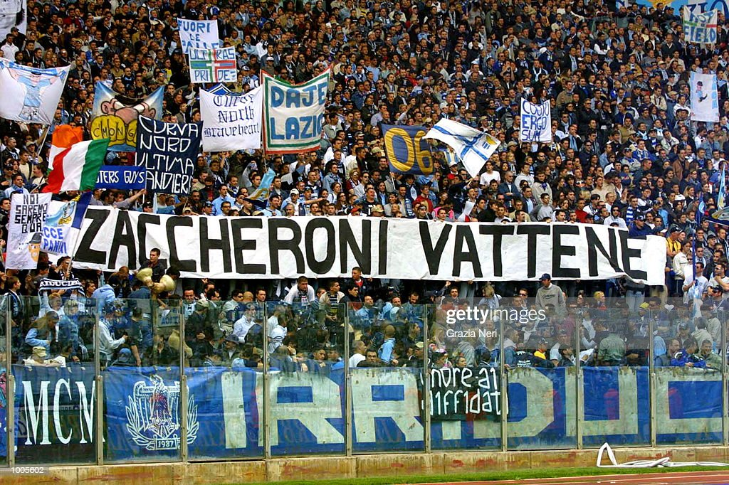 Lazio fans criticize their team's manager Alberto Zaccheroni during the Serie A match between Lazio and Verona, played at the Olympic Stadium, Rome. DIGITAL IMAGE Mandatory Credit: Grazia Neri/Getty Images