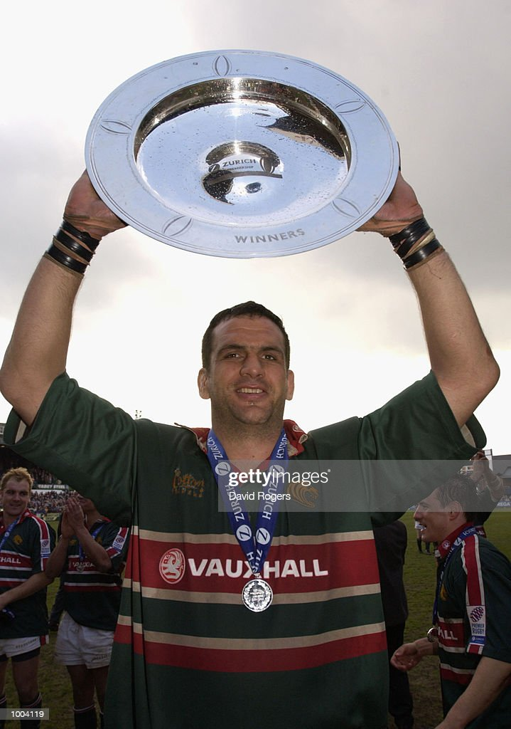 Leicester captain Martin Johnson celebrates with the Zurich Premiership Trophy after the Zurich Premiership match between Leicester Tigers and Newcastle Falcons at Welford Road, Leicester. DIGITAL IMAGE Mandatory Credit: Dave Rogers/Getty Images