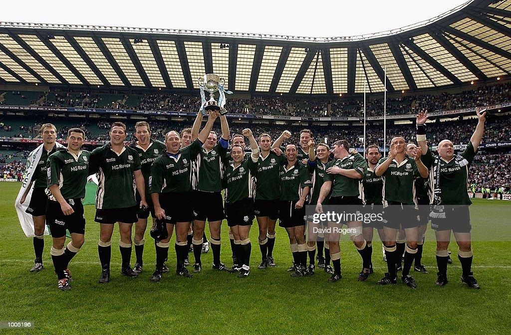 London Irish celebrates winning the Powergen Cup Final between Northampton Saints and London Irish at Twickenham, London. DIGITAL IMAGE. Mandatory Credit: Dave Rogers/Getty Images