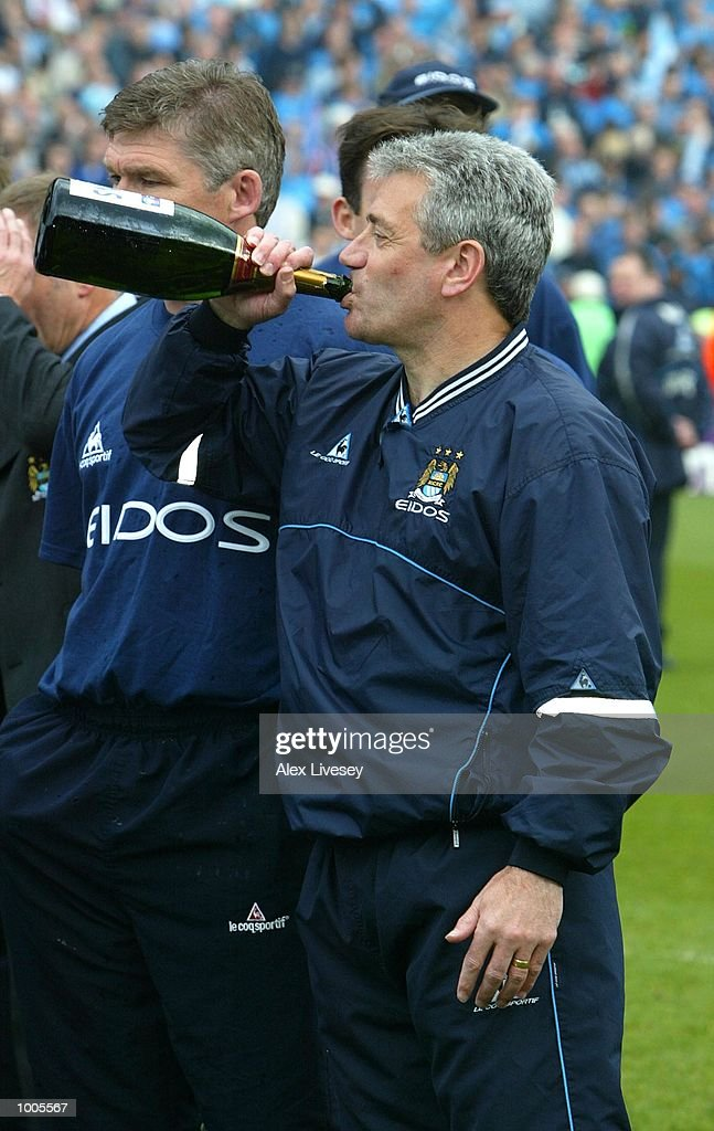 Man City manager, Kevin Keegan celebrates winning the First Division Championship after the Nationwide First Division game between Manchester City and Portsmouth at Maine Road, Manchester. DIGITAL IMAGE. Mandatory Credit: Alex Livesey/GettyImages