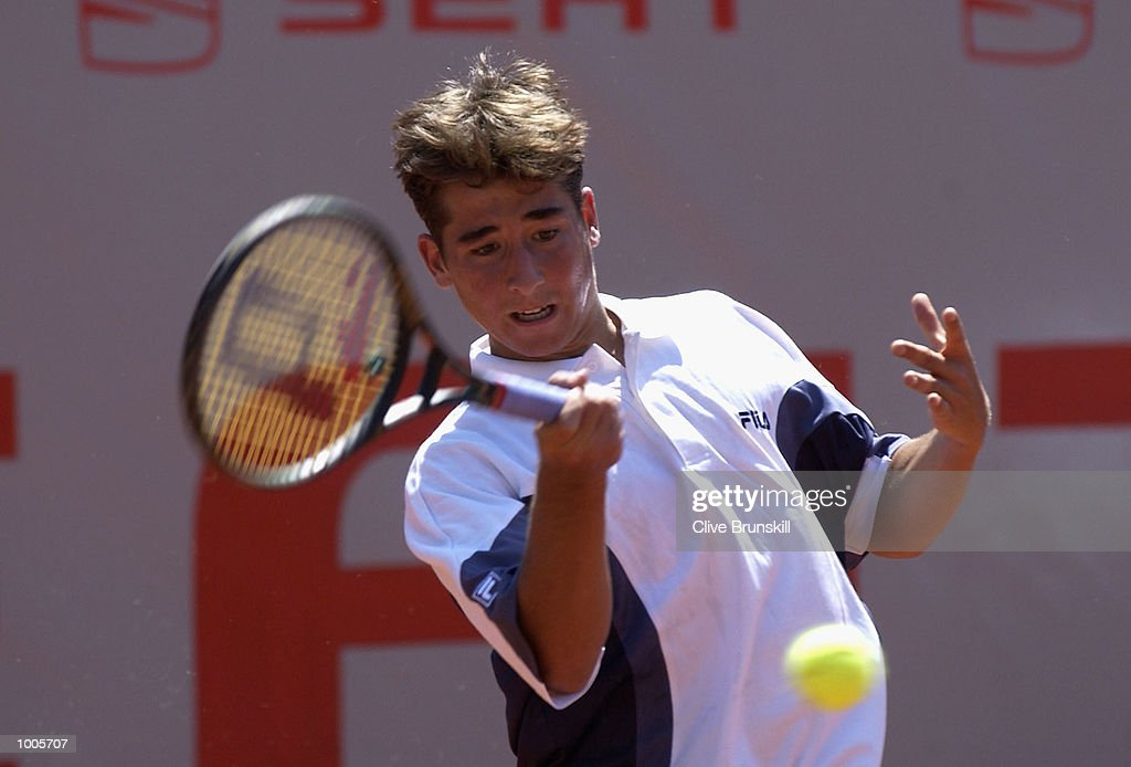 Marc Lopez of Spain in action during his first round match against Tommy Robredo of Spain during the Open Seat Godo, Barcelona, Spain. DIGITAL IMAGE Mandatory Credit: Clive Brunskill/Getty Images