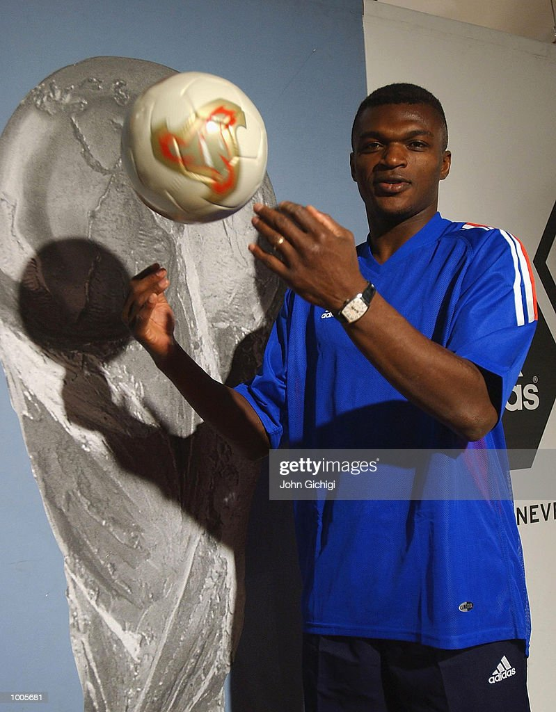 Marcel Desailly of France during the Adidas Kit Launch of the new French national kit in Govent Garden, London. DIGITAL IMAGE Mandatory Credit: John Gichigi/Getty Images