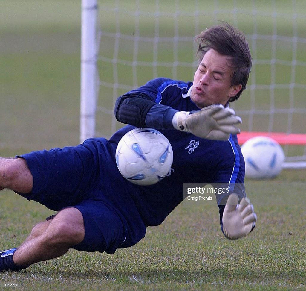 Mark Bosnich of Chelsea during a training session at Chelsea's training ground near Heathrow in London, as the team prepare for Sunday's FA Cup semi-final match against Fulham at Villa Park. DIGITAL IMAGE Mandatory Credit: Craig Prentis/Getty Images