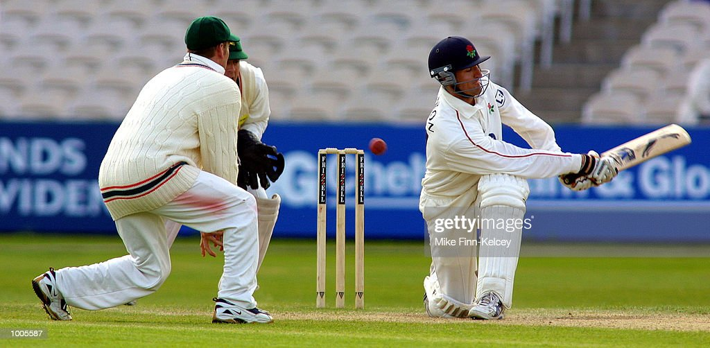 Mark Chilton of Lancashire hits out on his way to a half-century gainst Leicestershire in the Frizzell County Championship match at Old Trafford, Manchester. DIGITAL IMAGE Mandatory Credit: Mike Finn Kelcey/Getty Images