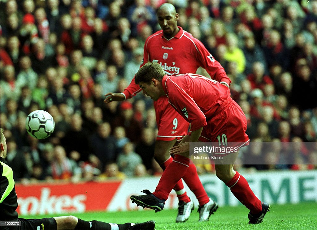 Michael Owen of Liverpool scores the first goal during the Liverpool v Derby County FA Barclaycard Premeirship match at Anfield, Liverpool. Mandatory Credit: Michael Steele/Getty Images