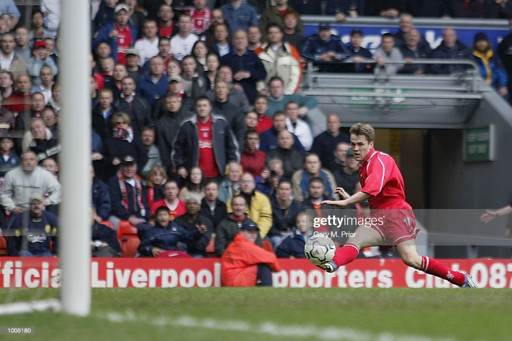 Michael Owen of Liverpool scores the second goal during the Liverpool v Derby County FA Barclaycard Premeirship match at Anfield, Liverpool. DIGITAL IMAGE Mandatory Credit: Gary M. Prior/Getty Images