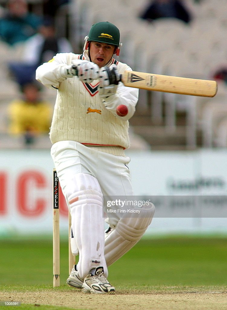 Neil Burns of Leicestershire hits out on his way to 62 against Lancashire in the Frizzell County Championship match at Old Trafford, Manchester. DIGITAL IMAGE Mandatory Credit: Mike Finn Kelcey/Getty Images