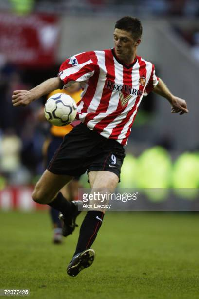 Niall Quinn of Sunderland prepares to unleash a powerful shot at goal during the FA Barclaycard Premiership match between Sunderland and Liverpool...