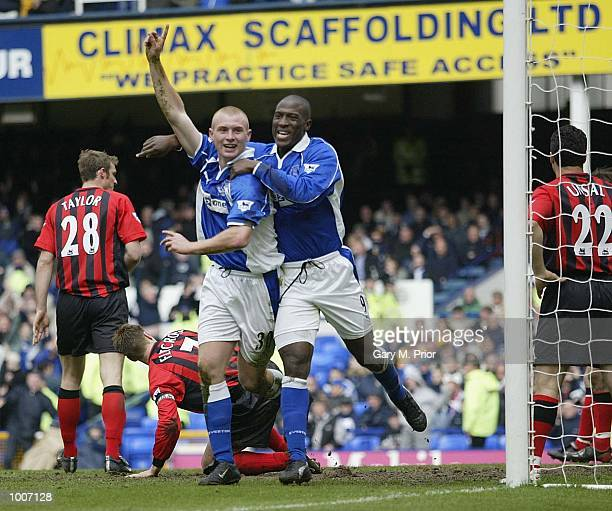 Nick Chadwick of Everton celebrates with Kevin Campbell after scoring the equalising goal during the Everton v Blackburn Rovers FA Barclaycard...