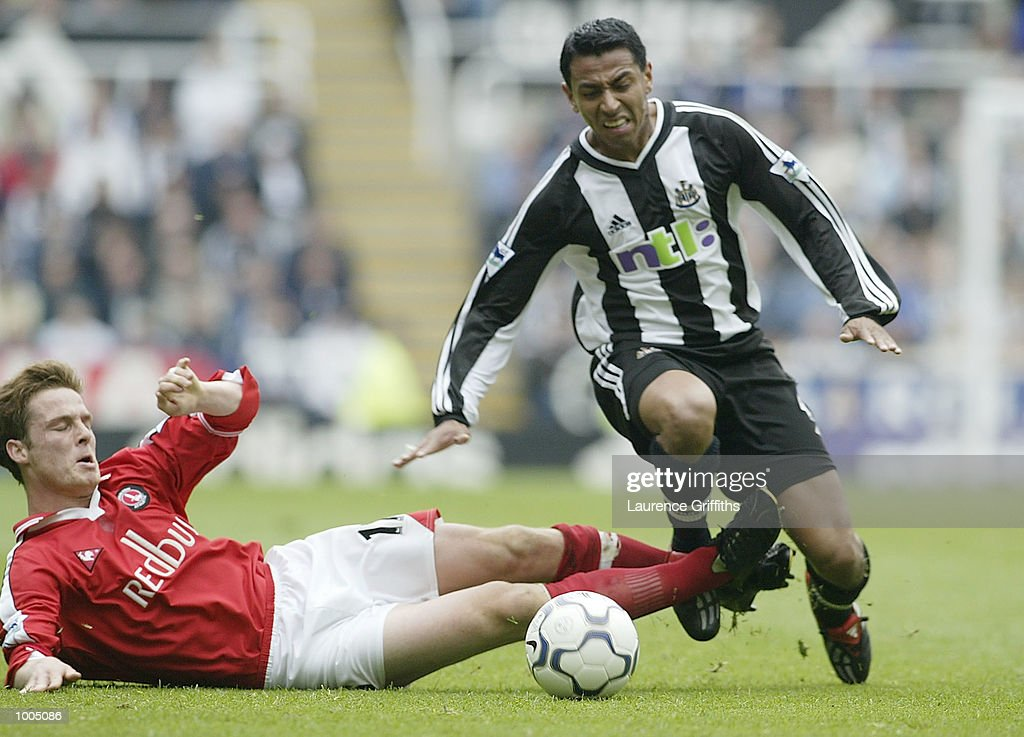 Nolberto Solano of Newcastle battles with Scott Parker of Charlton during the Newcastle United v Charlton Athletic FA Barclaycard Premiership match at St James Park, Newcastle. DIGITAL IMAGE Mandatory Credit: Laurence Griffiths/Getty Images