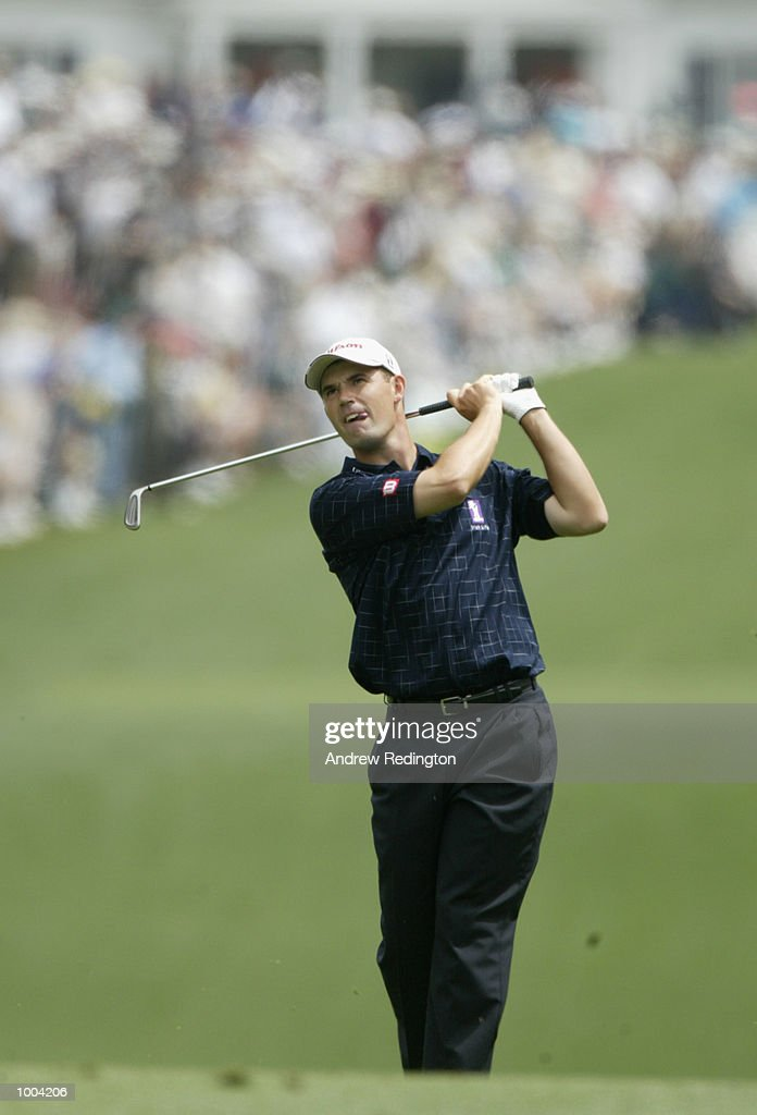 Padraig Harrington of Ireland plays his second shot on the first hole during the third day of the Masters Tournament from the Augusta National Golf Club in Augusta, Georgia. DIGITAL IMAGE. EDITORIAL USE ONLY Mandatory Credit: Andrew Redington/Getty Images