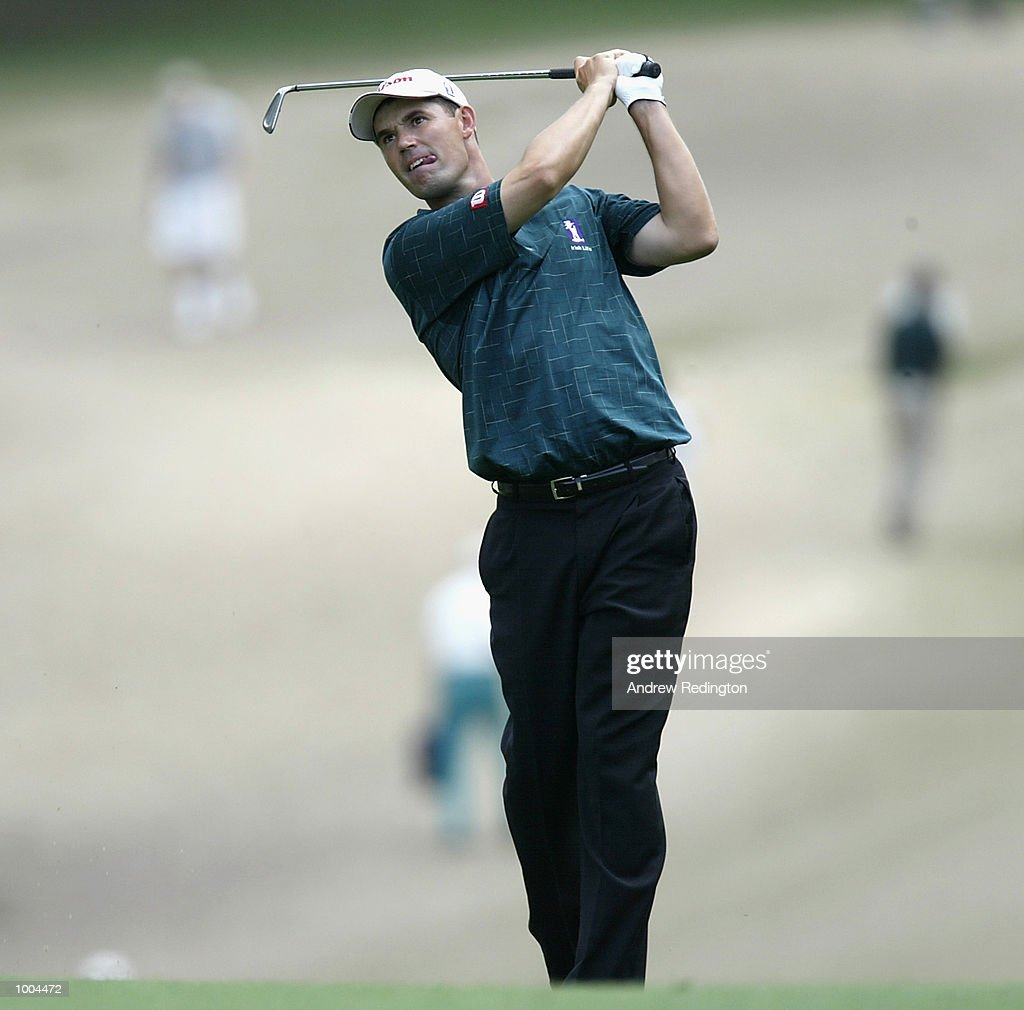 Padraig Harrington of Ireland plays his second shot on the first hole during the final round of the Masters Tournament from the Augusta National Golf Club in Augusta, Georgia. DIGITAL IMAGE. EDITORIAL USE ONLY Mandatory Credit: Andrew Redington/Getty Images
