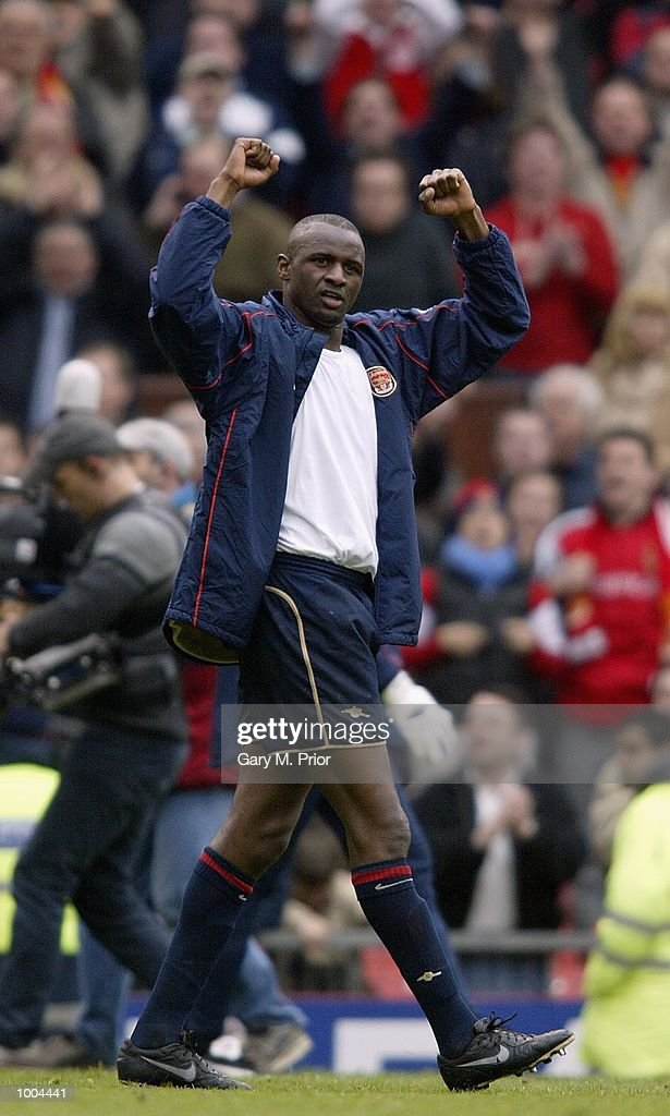 Patrick Vieira celebrates Arsenal's victory in the AXA sponsored FA Cup semi final tie between Middlesbrough v Arsenal at Old Trafford Stadium, Manchester. DIGITAL IMAGE. Mandatory Credit: Gary M. Prior/Getty Images