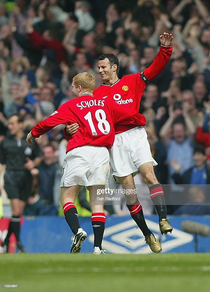 Paul Scholes of Manchester United celebrates scoring the first goal during the FA Barclaycard Premiership match between Chelsea and Manchester United at Stamford Bridge, London. DIGITAL IMAGE Mandatory Credit: Ben Radford/Getty Images
