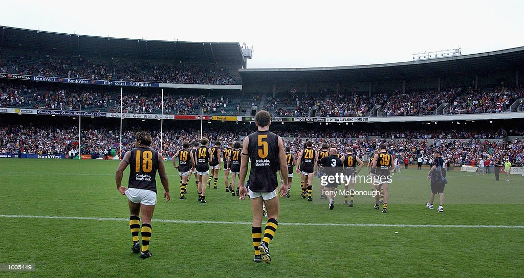 Richmond leave Subiaco Oval after being defeated by the Dockers during the AFL match between the Fremantle Dockers 138 points and the Richmond Tigers 72 points, played at the Subiaco Oval, Western Australia. DIGITAL IMAGE Mandatory Credit:Tony McDonough/Getty Images