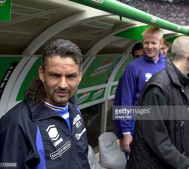 Roberto Baggio of Brescia on the bench before the Serie A match between Juventus and Brescia played at the Delle Alpi Stadium Turin DIGITAL IMAGE...