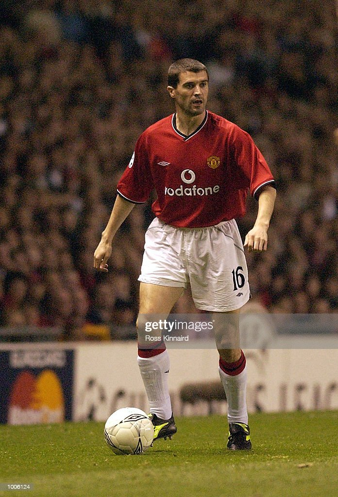 Roy Keane of Man Utd makes his return after injury during the Manchester United v Bayer Leverkusen UEFA Champions League Semi Final, First Leg match from Old Trafford, Manchester. DIGITAL IMAGE Mandatory Credit: Ross Kinnaird/Getty Images