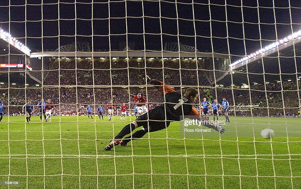 Ruud Van Nistelrooy of Man Utd scores the second goal with a penalty during the Manchester United v Bayer Leverkusen UEFA Champions League Semi Final, First Leg match from Old Trafford, Manchester. DIGITAL IMAGE Mandatory Credit: Ross Kinnaird/Getty Images