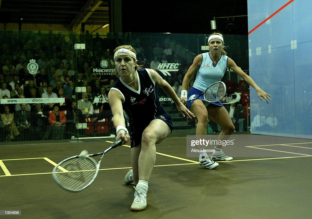 Sarah Fitzgerald of Australia in action during her victory over Tania Bailey of England in the Womens Final of the British Open at the Commonwealth Stadium, Manchester. DIGITAL IMAGE. Mandatory Credit: Alex Livesey/Getty Images