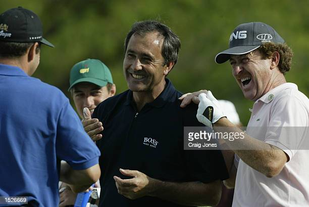 Seve Balesteros Miguel Angel Jimenez and Jose Maria Olazabal of Spain share a joke on the 10th hole during the second practice day at the Masters...