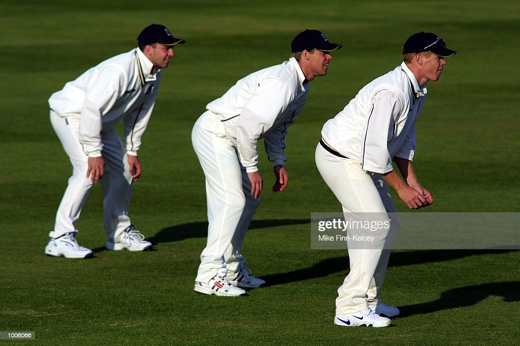 Shaun Pollock of Warwickshire leads the slips during the Frizzell County Championship match between Warwickshire and Lancashire at Edgbaston, Birmingham. DIGITAL IMAGE Mandatory Credit: Mike Finn Kelcey/Getty Images