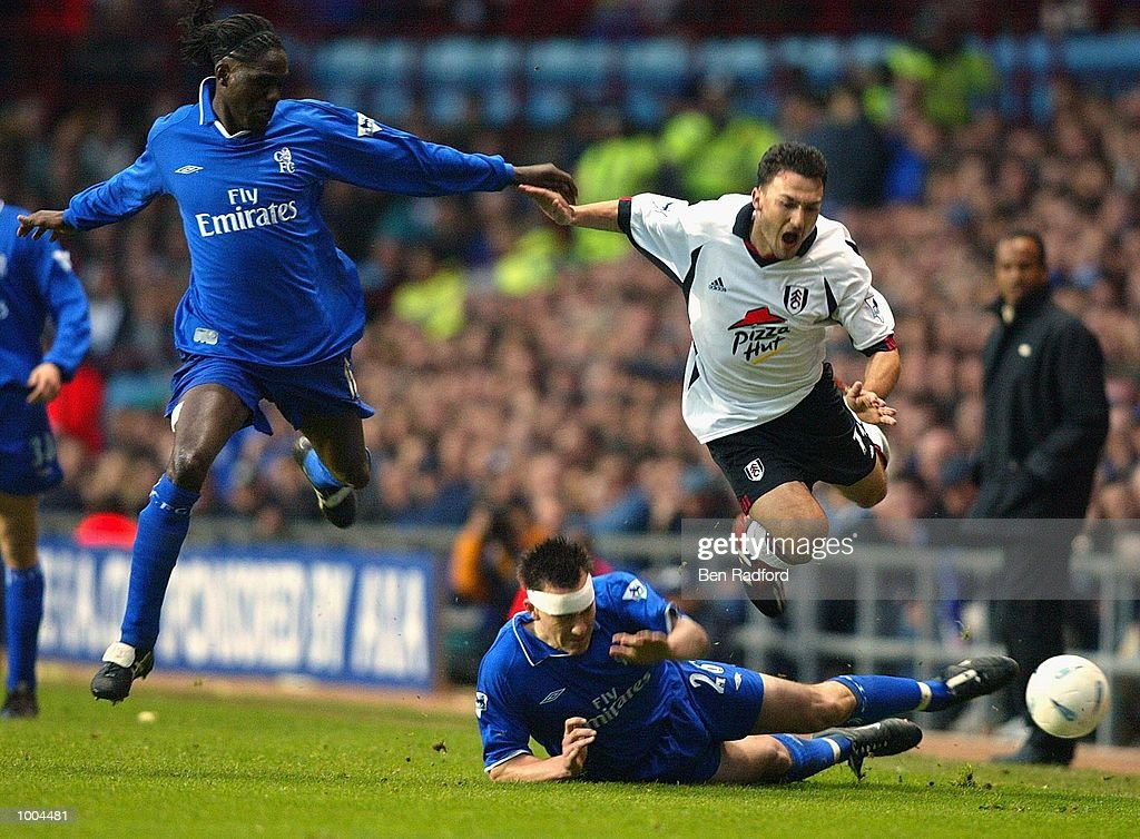 Steed Malbranque of Fulham goes over the tackle of John Terry of Chelsea during the Axa FA Cup Semi Final match between Chelsea and Fulham at Villa Park, Birmingham. DIGITAL IMAGE. Mandatory Credit: Ben Radford/Getty Images