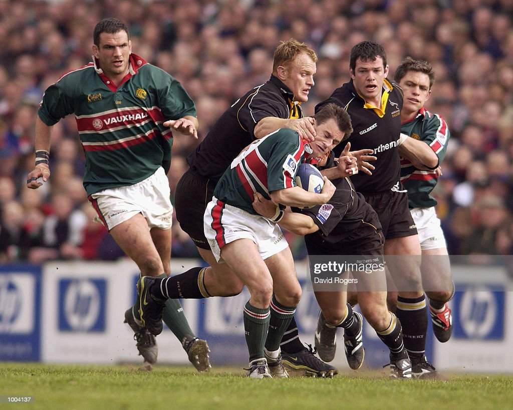 Steve Booth of Leicester is stopped by Hugh Vyvyan of Newcastle during the Zurich Premiership match between Leicester Tigers and Newcastle Falcons at Welford Road, Leicester. DIGITAL IMAGE Mandatory Credit: Dave Rogers/Getty Images