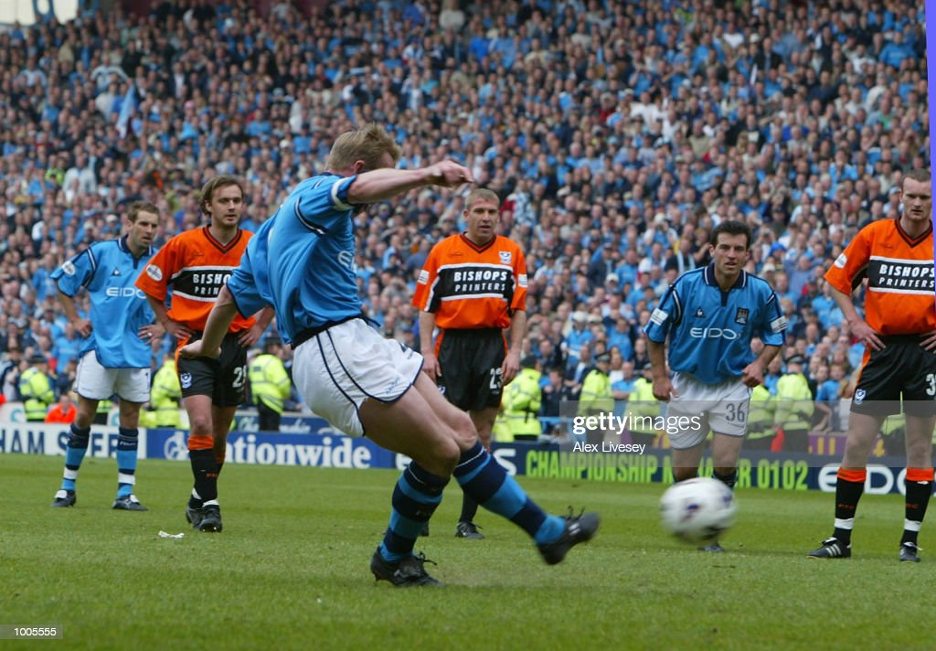 Stuart Pearce the captain of Man City misses a penalty during the Nationwide First Division game between Manchester City and Portsmouth at Maine Road, Manchester. DIGITAL IMAGE. Mandatory Credit: Alex Livesey/Getty Images