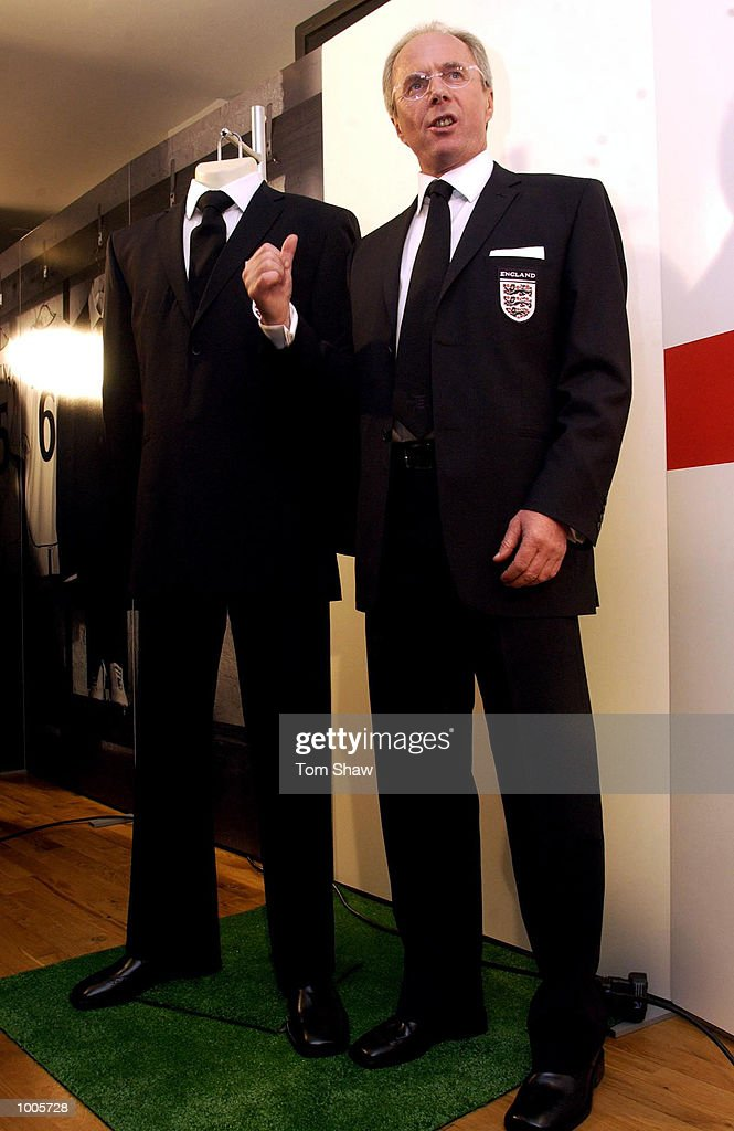 Sven Goran Eriksson the England coach answers questions from the press at the Burton launch of the official England 2002 World Cup suit, London . DIGITAL IMAGE. Mandatory Credit: Tom Shaw/Getty Images
