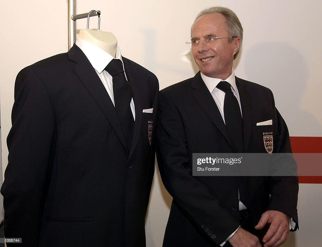 Sven Goran Eriksson the England coach answers questions from the press at the Burton launch of the official England 2002 World Cup suit, London . DIGITAL IMAGE. Mandatory Credit: Stu Forster/Getty Images