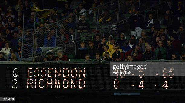 The scoreboard shortly before Richmond kicked their first goal during the Round 2 AFL Match between the Essendon Bombers and the Richmond Tigers...