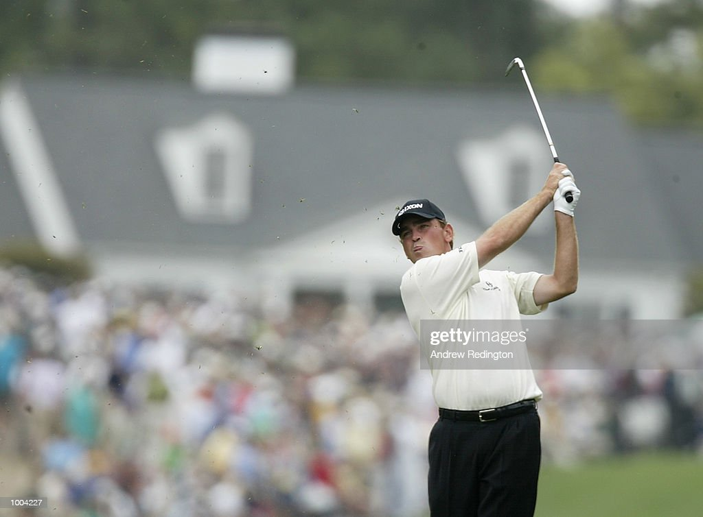Thomas Bjorn of Denmark plays his second shot on the first hole during the third day of the Masters Tournament from the Augusta National Golf Club in Augusta, Georgia. DIGITAL IMAGE. EDITORIAL USE ONLY Mandatory Credit: Andrew Redington/Getty Images