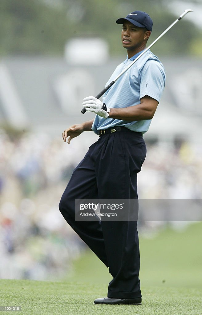 Tiger Woods of the USA after his second shot on the first hole during the third day of the Masters Tournament from the Augusta National Golf Club in Augusta, Georgia. DIGITAL IMAGE. EDITORIAL USE ONLY Mandatory Credit: Andrew Redington/Getty Images