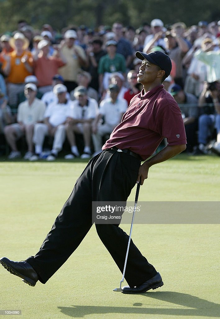 Tiger Woods of the USA after missing his birdie putt on the 18th green during the final round of the Masters Tournament from the Augusta National Golf Club in Augusta, Georgia. DIGITAL IMAGE. EDITORIAL USE ONLY Mandatory Credit: Craig Jones/Getty Images