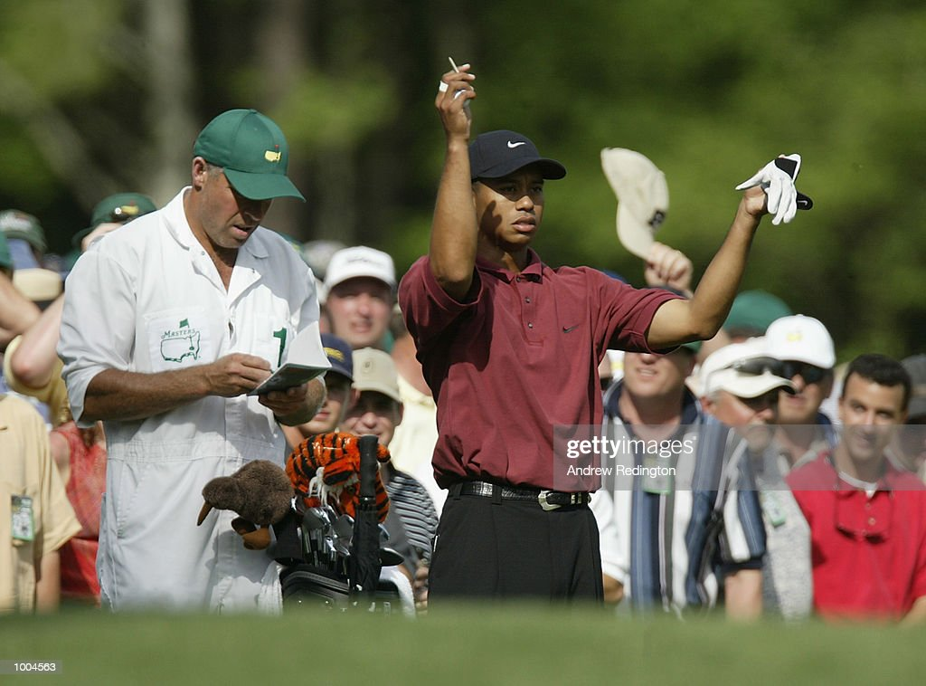 Tiger Woods of the USA before his tee shot on the 11th hole during the final round of the Masters Tournament from the Augusta National Golf Club in Augusta, Georgia. DIGITAL IMAGE. EDITORIAL USE ONLY Mandatory Credit: Andrew Redington/GettyImages