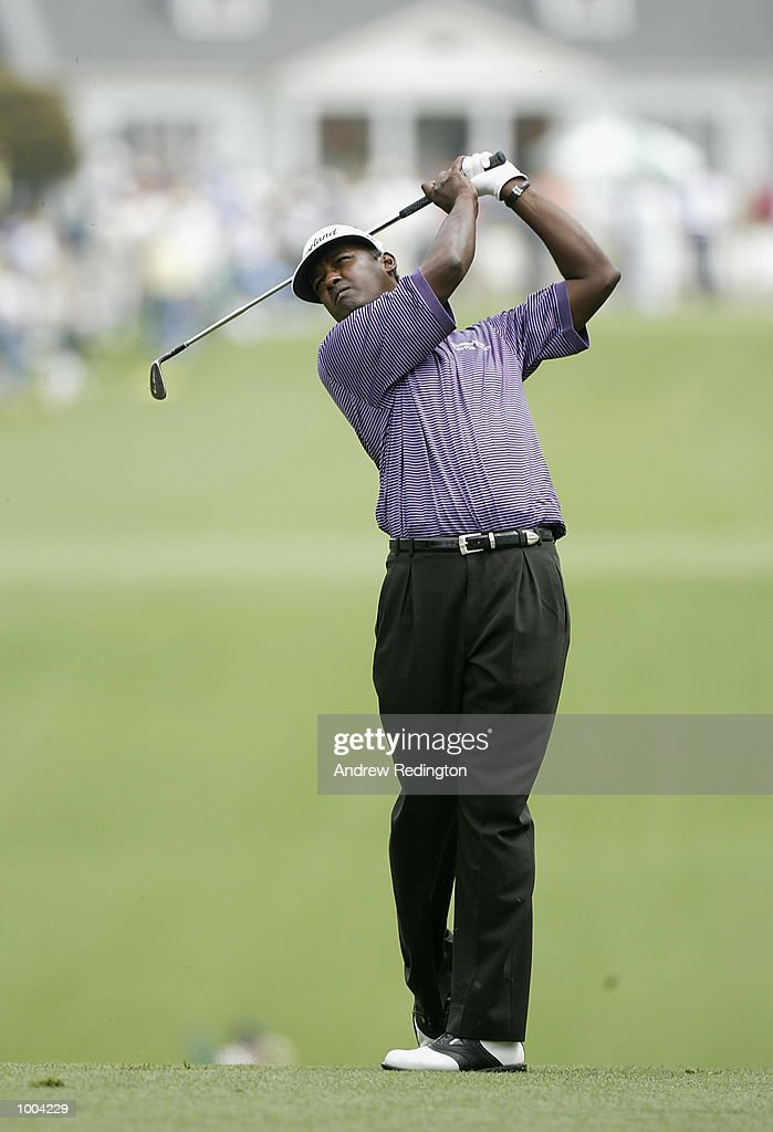 Vijay Singh of Fiji plays his second shot on the first hole during the third day of the Masters Tournament from the Augusta National Golf Club in Augusta, Georgia. DIGITAL IMAGE. EDITORIAL USE ONLY Mandatory Credit: Andrew Redington/Getty Images