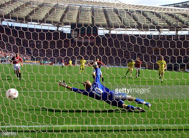 Vincenzo Montella of Roma scores a penalty during the Serie A match between Roma and Chievo played at the Olympic Stadium Rome DIGITAL IMAGE...