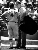 Apr 25 1969 Baltimore Maryland USA EARL WEAVER of the Baltimore Orioles with Umpire is FRANK UMONT