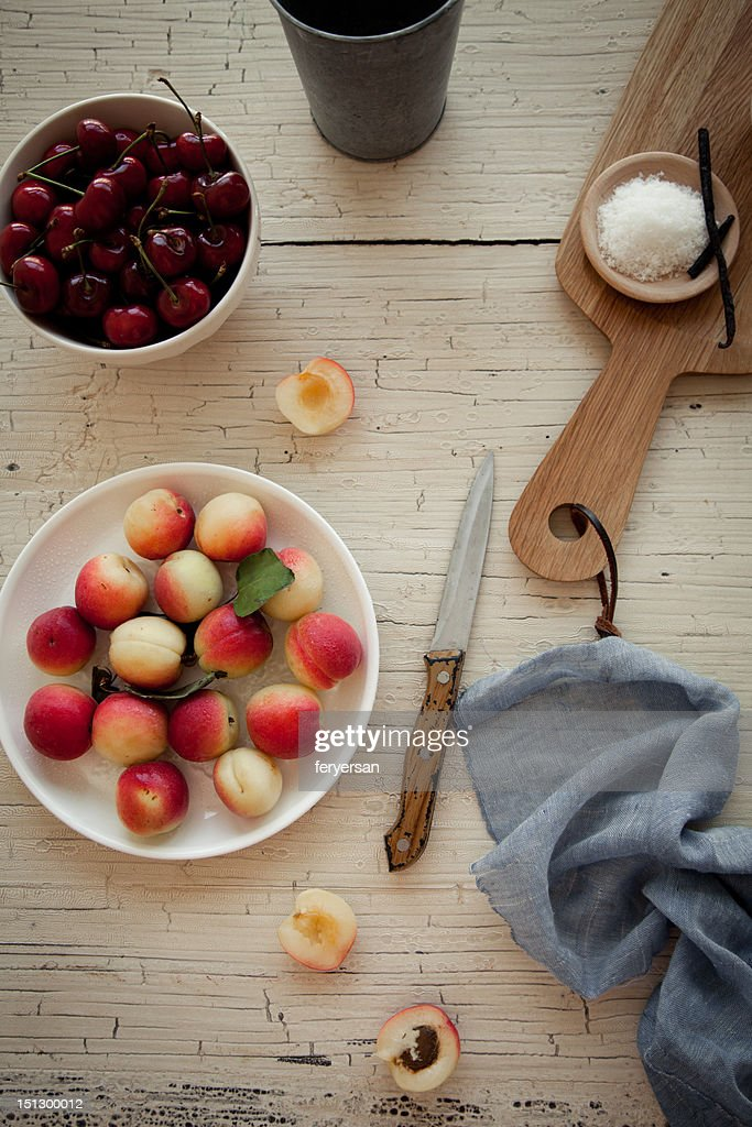 Apricot and cherry : Stock Photo