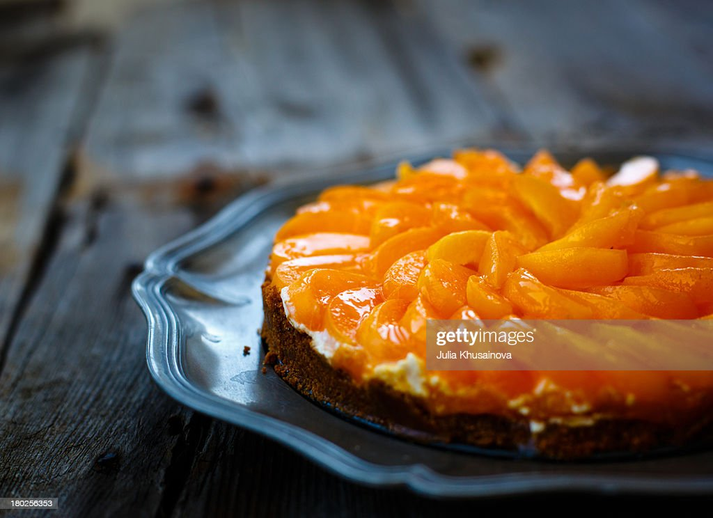 Apricot goat cheese tart : Stock Photo