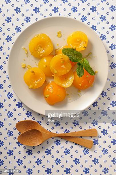 apricot , pistachio with sirup