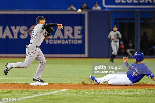 New York Yankees infielder Brian Roberts tries to complete a double play The New York Yankees defeated the Toronto Blue Jays 6 4 at the Rogers Centre...