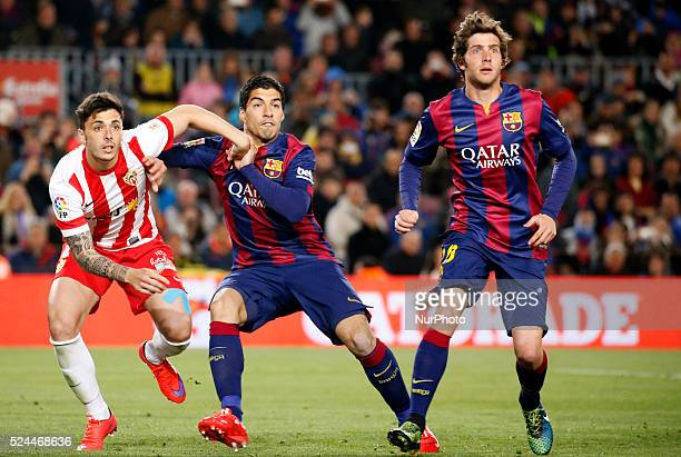 Luis Suarez Sergi Roberto and Ximo Navarro in the match between FC Barcelona and UD Almeria for the week 30 of the Liga BBVA played at theCamp Nou on...