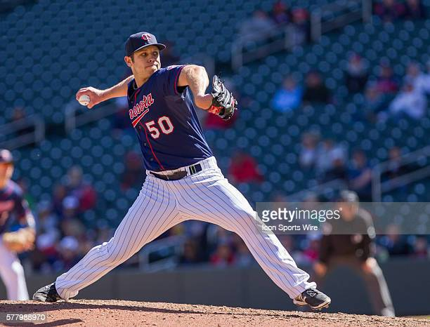 Minnesota Twins Pitcher Casey Fien [9006] pitches in the ninth inning against the Oakland Athletics at Target Field Minneapolis MN The Oakland...
