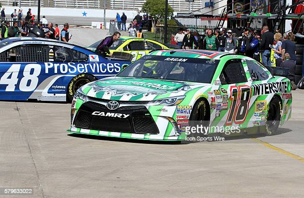 David Ragan driver of the Interstate Batteries Toyota during practice for the NASCAR Sprint Cup Series Duck Commander 500 at Texas Motor Speedway in...