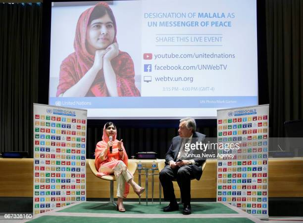 NATIONS April 10 2017 Malala Yousafzai answers questions from young representatives after she was designated as the United Nations Messenger of Peace...