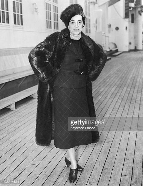 April 12 1936 Portrait Of The French Designer Elsa Schiaparelli On The Transatlantic Europa Upon Her Arrival In New York For To Do Her Christmas...