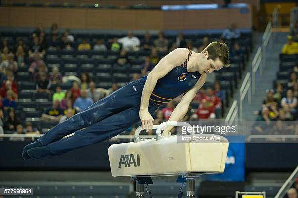 April 12 2014 Ann Arbor MI Logan Bradley of Illinois performs on the pommel horse during the 2014 NCAA Men's Gymnastics Championships Event Finals on...